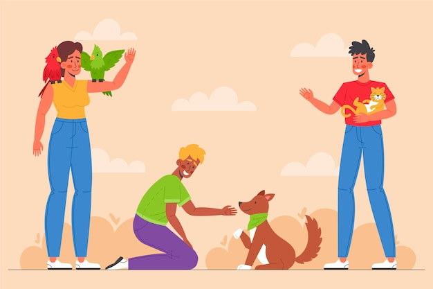 Flat people with pets outside