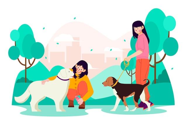 애완 동물이있는 평평한 사람들