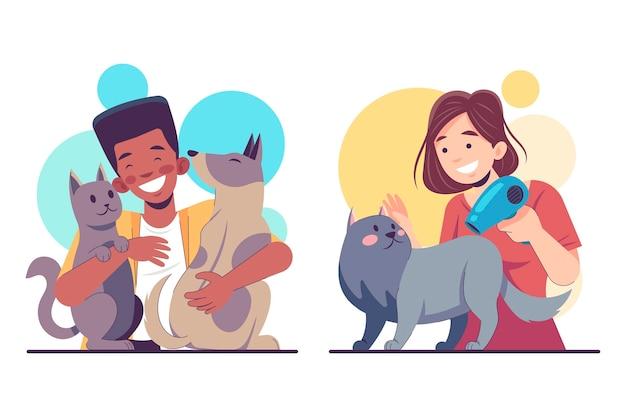Плоские люди с домашними животными