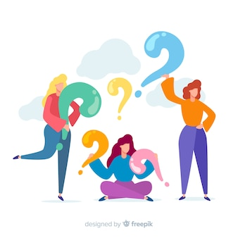 Flat people with question marks background