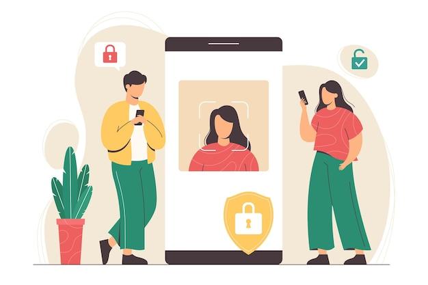스마트폰이 있는 평평한 사람들은 장치 잠금 해제를 위해 얼굴을 스캔합니다.