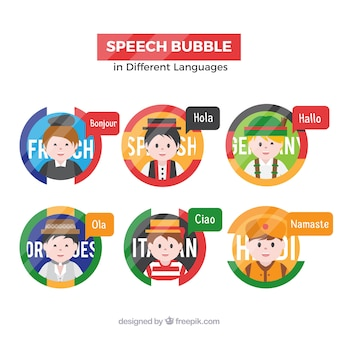 Flat people with speech bubbles in different languages