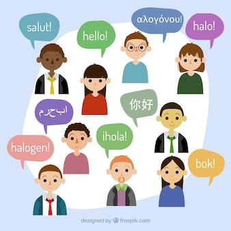 다른 언어로 연설 거품을 가진 평평한 사람들