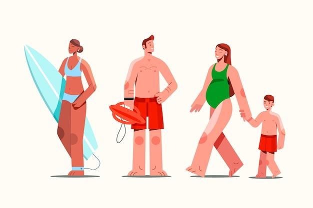 夏服コレクションのフラットな人々