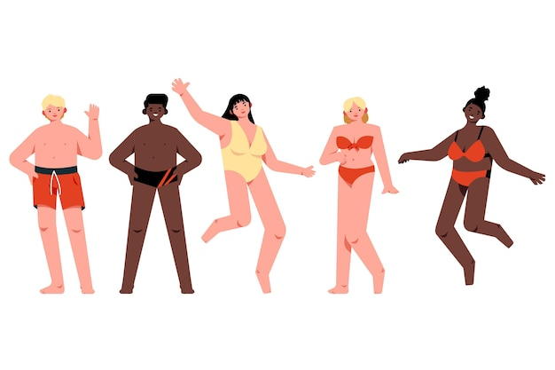 Flat people with summer clothes collection