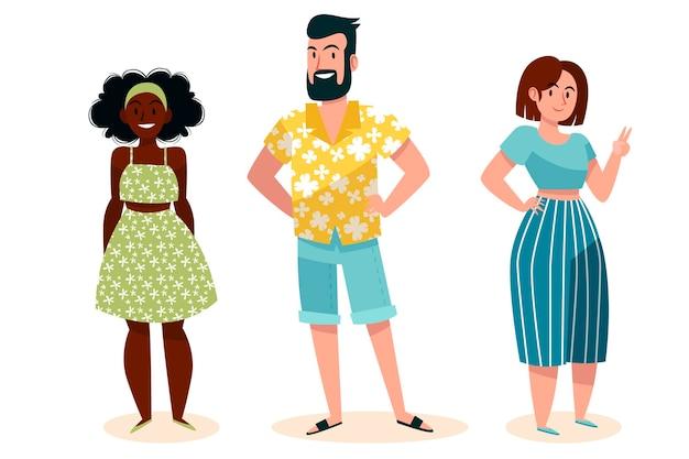 Плоские люди с пакетом летней одежды