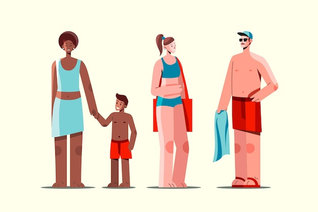 Flat people with summer clothes