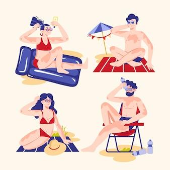 Persone piatte con una scottatura solare illustrata