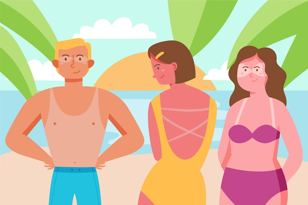 Flat people with a sunburn outdoors