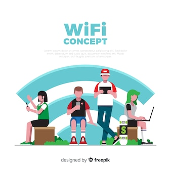 Flat people with wifi sign background