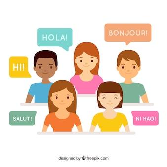 Persone piatte con parole in diverse lingue