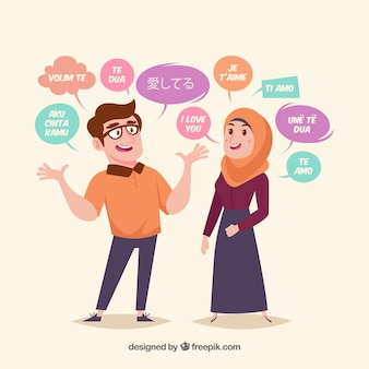 Flat people with words in different languages
