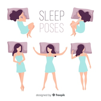 Flat person in different sleep positions
