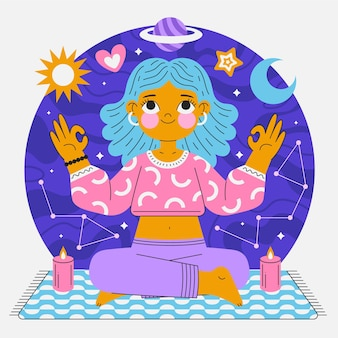 Flat person meditating peacefully