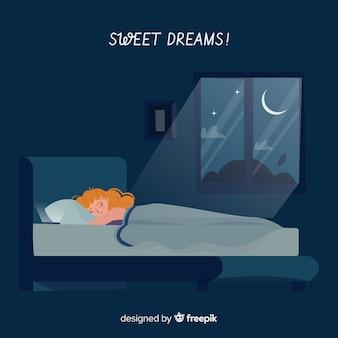 平らな人がベッドのバックグラウンドで夜寝ている