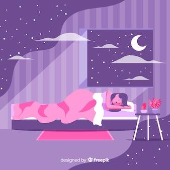 침대 배경에서 밤에 자고있는 평평한 사람