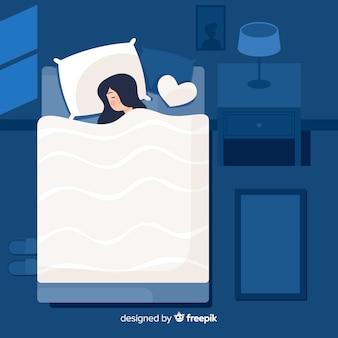 침대 배경에서 밤에 자고있는 평평한 사람 무료 벡터