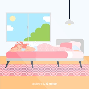 Flat person sleeping in bed background