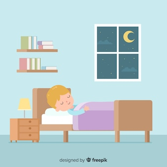 Flat person sleeping in bed