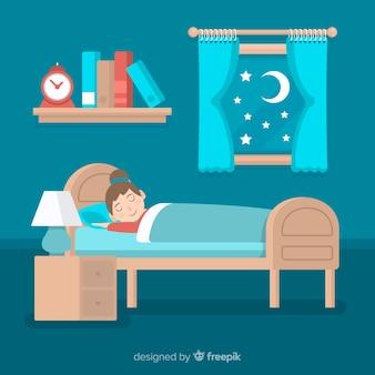 Persona piatta che dorme nel letto