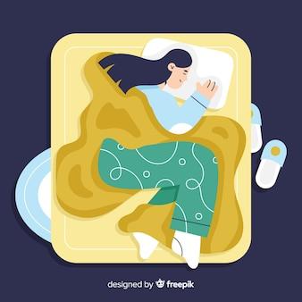 Плоский человек спит в постели фоне
