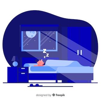 平らな人がベッドで寝ています