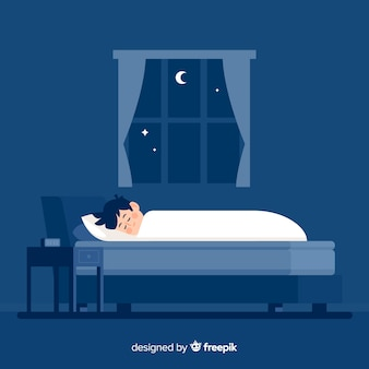 Flat person sleeping at night in bed background