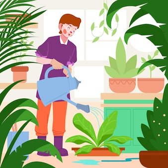 Flat person taking care of plants
