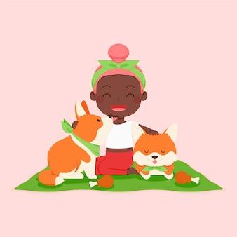 Persona piatta con illustrazione di animali domestici