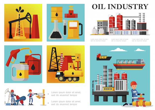 Flat petroleum industry composition with petrochemical plant drilling rig derrick fuel truck tankers industrial workers oil barrels cans gas station pump