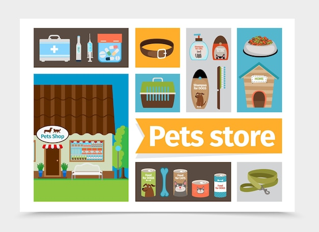 Flat pets shop composition