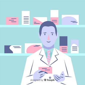 Flat pharmacist attending customers background