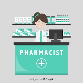 Flat pharmacist attending customers background