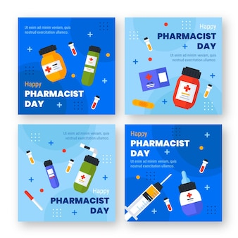 Collezione di post di instagram per il giorno del farmacista piatto