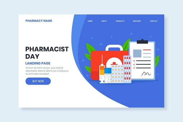 Modello di pagina di destinazione del giorno del farmacista piatto