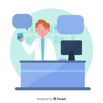 Flat pharmacist with speech bubbles