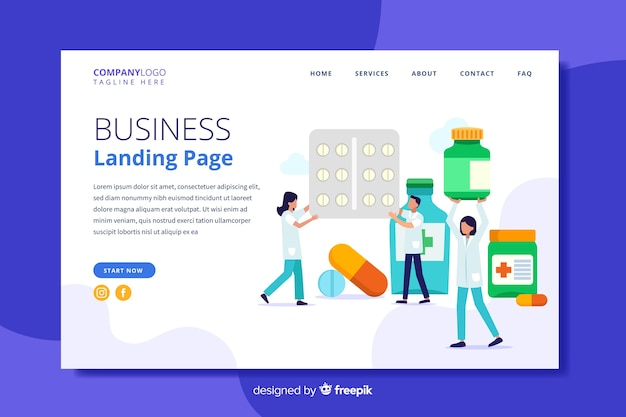 Flat pharmacy landing page template