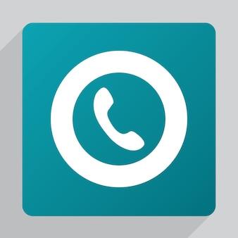 Плоский значок телефона, белый на зеленом фоне