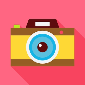 Flat photo camera with long shadow. vector illustration flat stylized