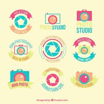 Flat photo studio badges