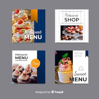 Flat photographic food banner pack