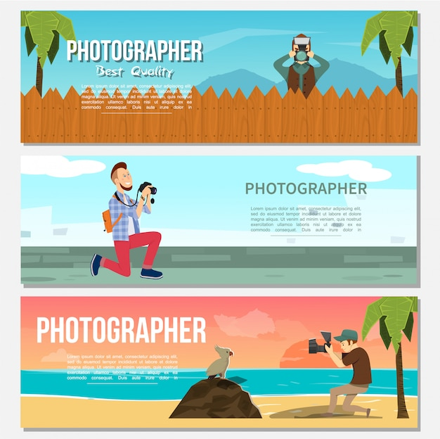 Flat photography horizontal banners with paparazzi animal photographer photo of night sea and dolphins