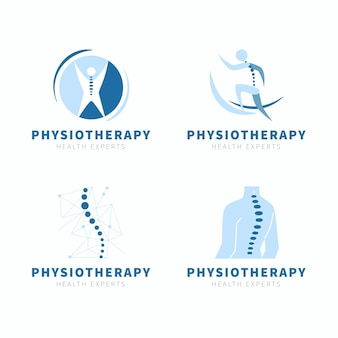 Flat physiotherapy logo collection