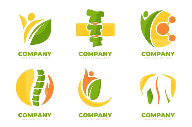 Flat physiotherapy logo pack Free Vector