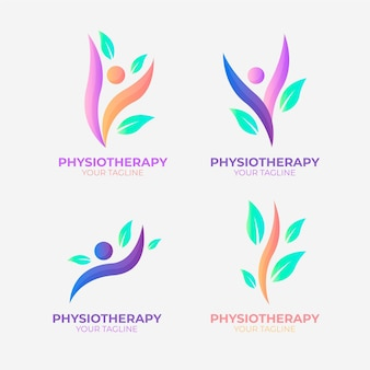 Flat physiotherapy logo pack