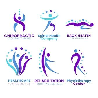 Pacchetto logo fisioterapia piatto
