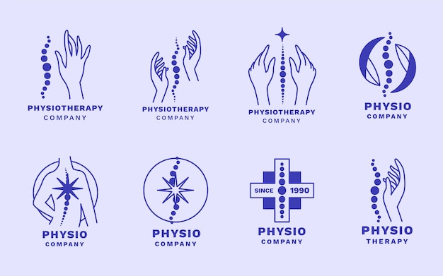 Flat physiotherapy logo template set