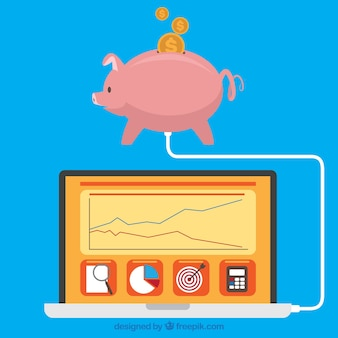 Flat piggy bank connected to laptop