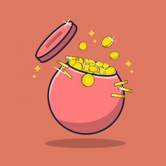 Flat piggy bank illustration