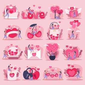 フラットピンク愛カップルアイコンセットまたは感情とロマンチックなカップルイラストの少しと大きな心のシンボルとステッカー